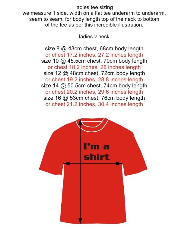 Size chart ladies v