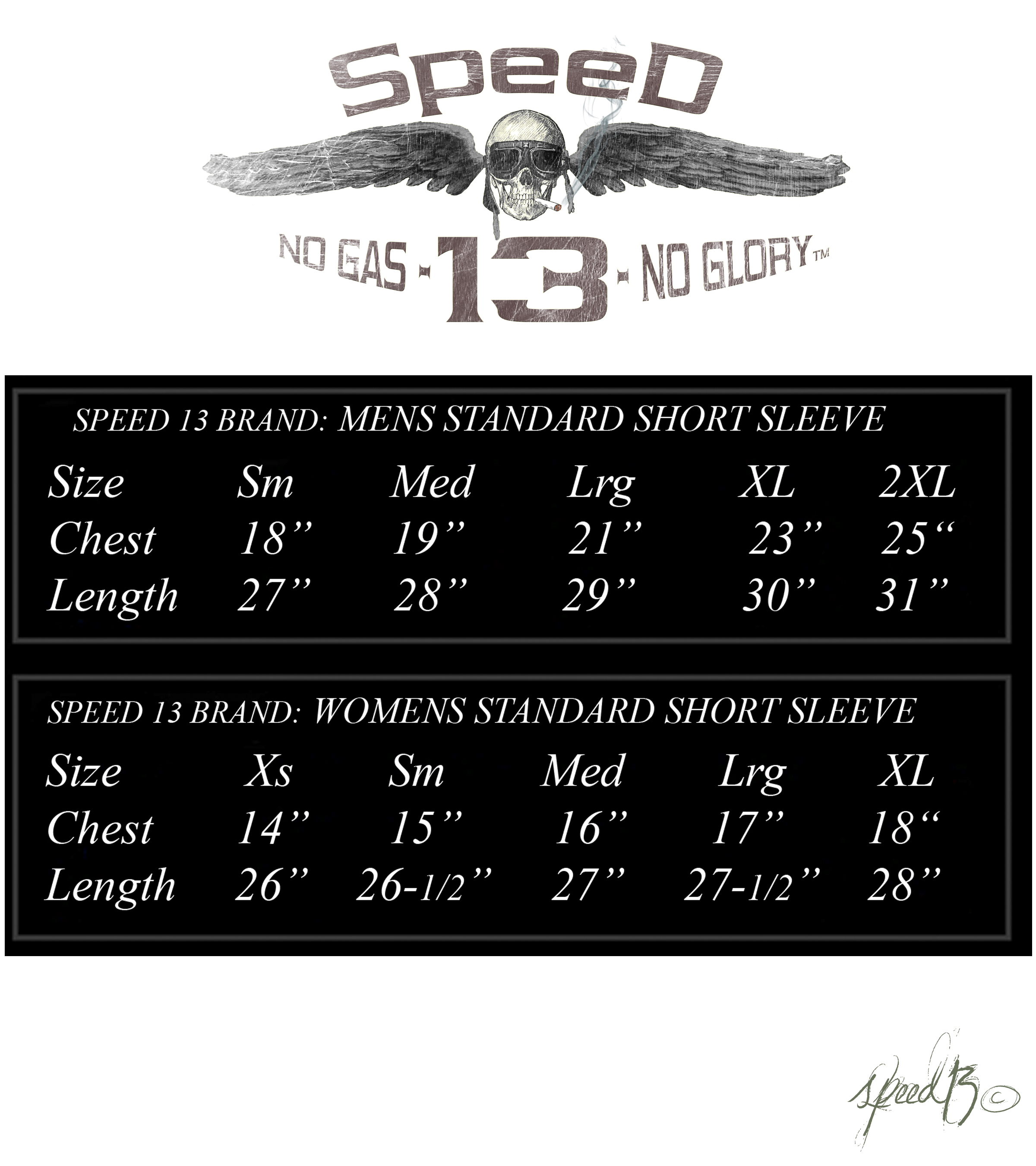 Speed sizing chart