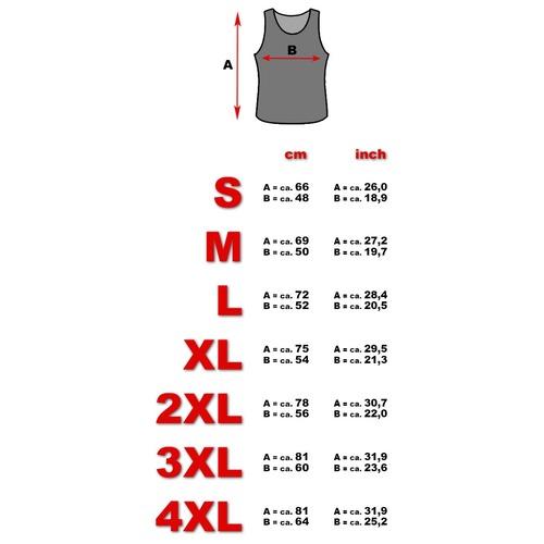 Tank top size chart men
