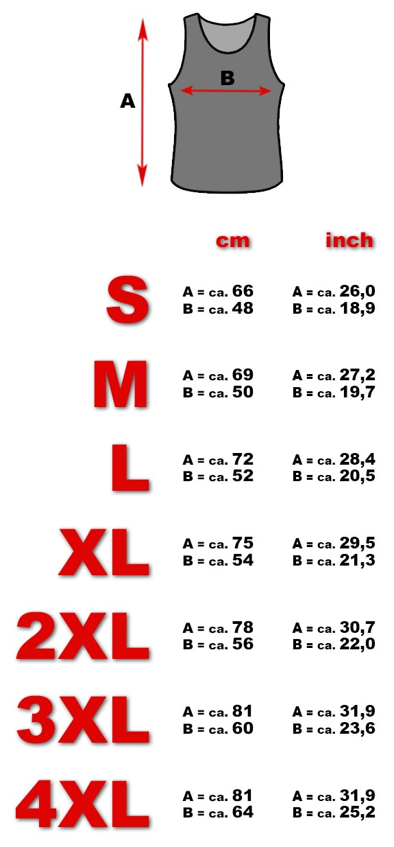Tank top size chart men