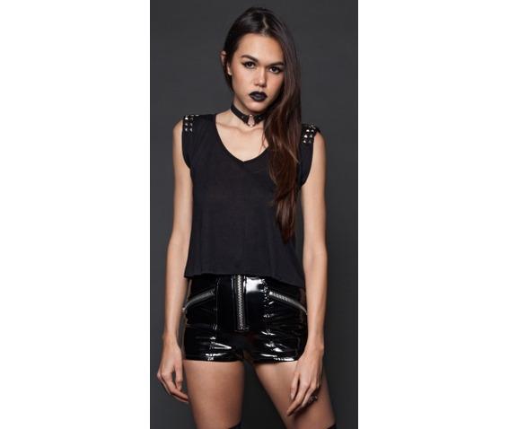 Lip service studded open back tank blouses 2