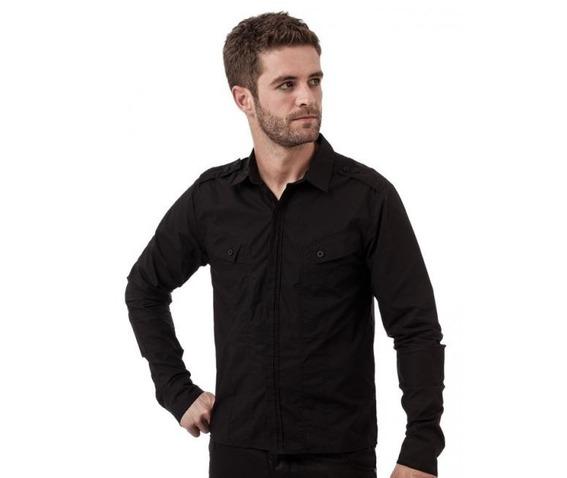 Queen darkness button up shirt diagonal pockets epaulets shirts 2