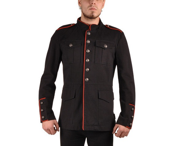 Tripp nyc black military jacket epaulets red piping jackets 2