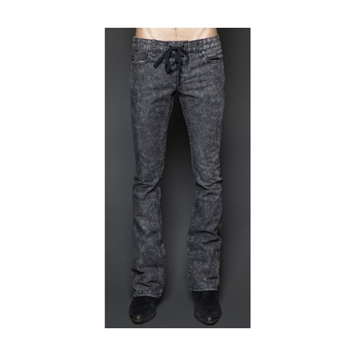 Lip service grey rocker flared jeans lace up fly pants and jeans 2