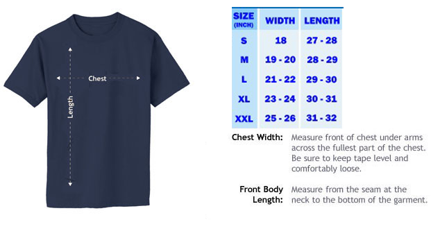 T shirt size cart