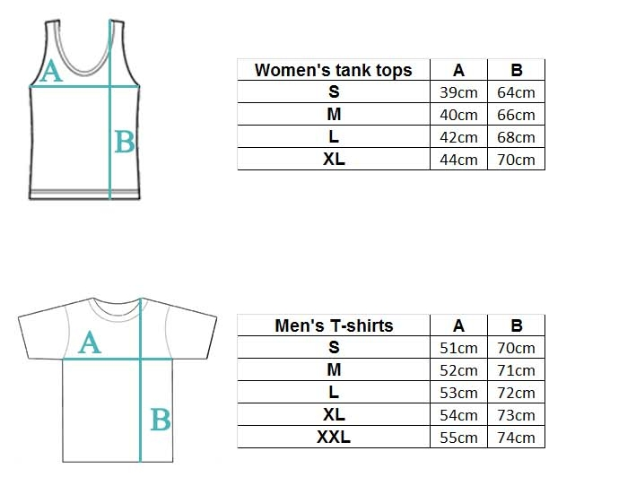 Size chart tshirts tank tops