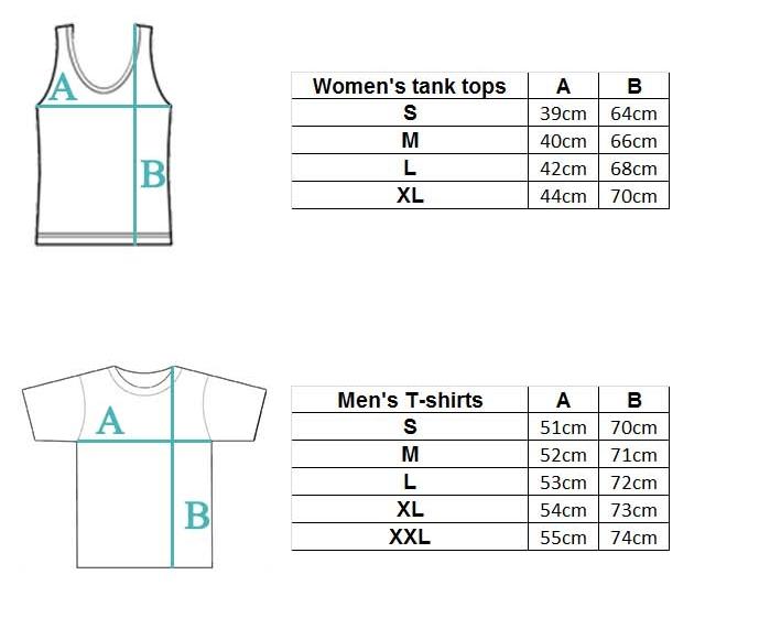Size chart tshirts tank tops
