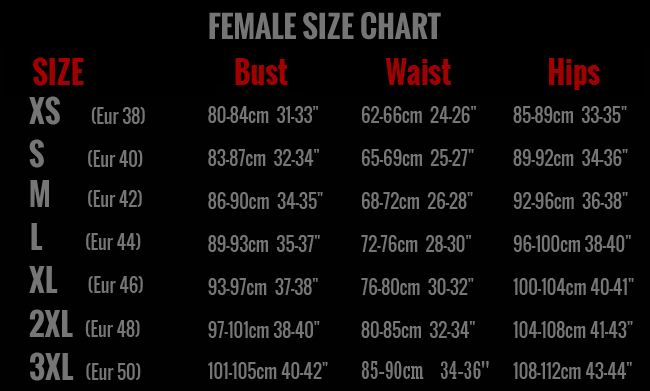 Femalesizechart red