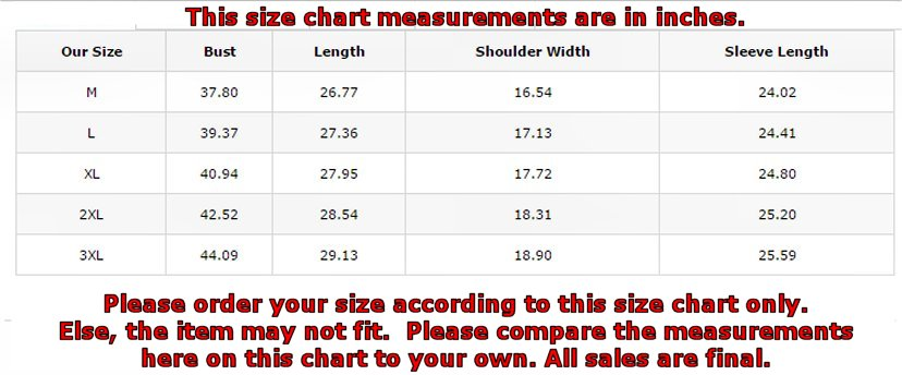 Size chart for item 130773506dlil