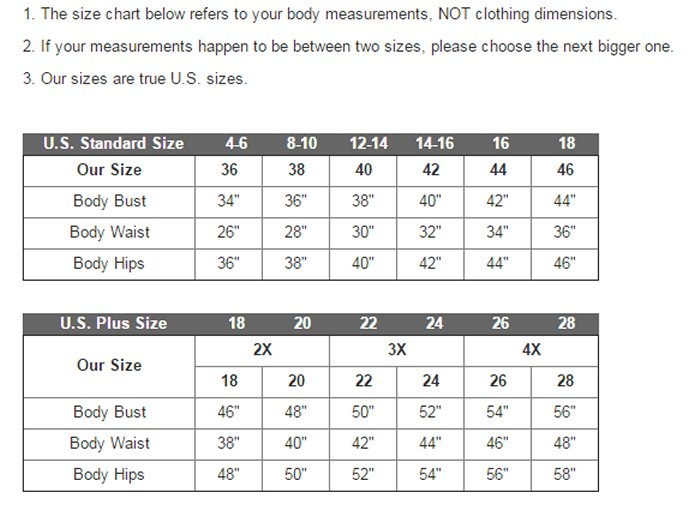 Size chart ccss