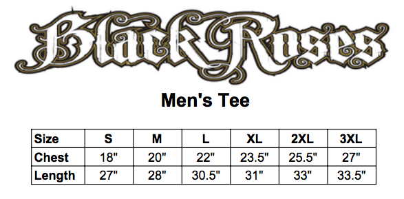 Black roses mens tee size chart
