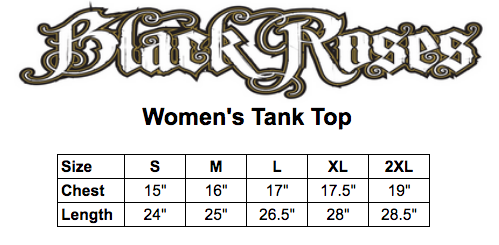 Black roses tank top size chart