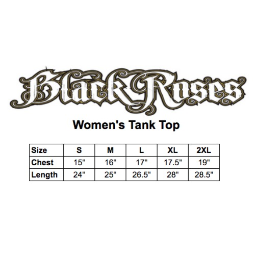 Black roses tank top size chart