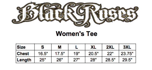 Black roses womens tee size chart