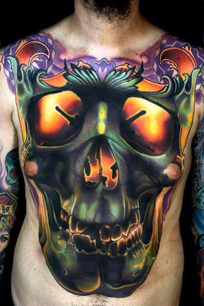 Owl Skull Chest Tattoo