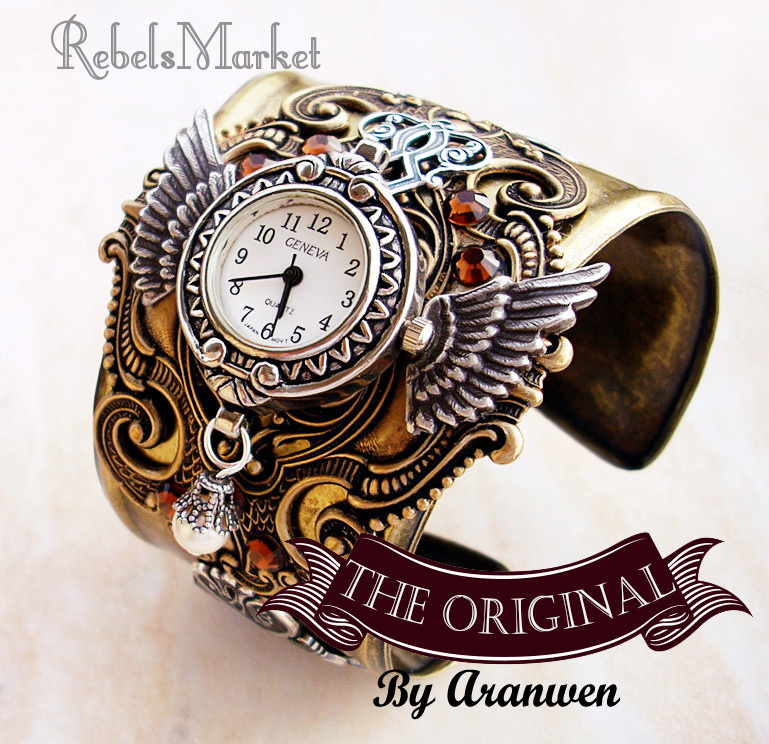 steampunk cuff men watch