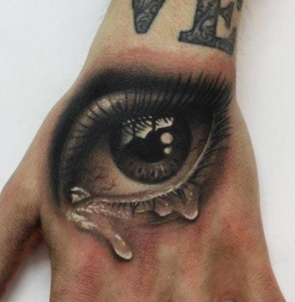 realistic eye tattoo hand tear