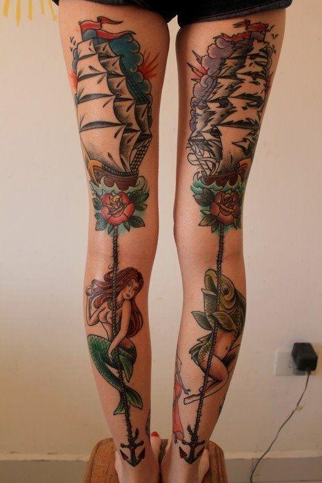 leg women tattoo