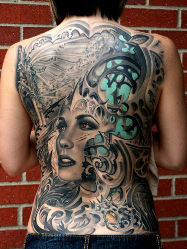 back woman tattoo