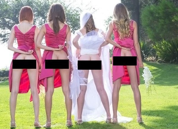 Brides & BridesMaid Showing Butts is the new cool. Most baffling wedding trend. Must see