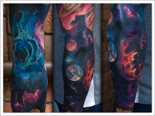 Best galaxy tattoos trend fashion wear the universe on for Galaxy tattoo sleeve