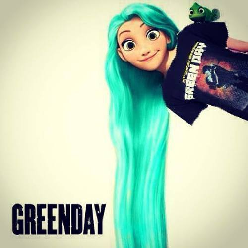 Greenday T-Shirt Pixars Tangled Girls with great turquoise hair wig