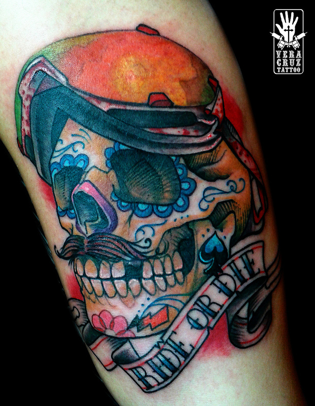 Ride or Die Day of the Dead Skull Snowboard Tattoo Vera Cruz
