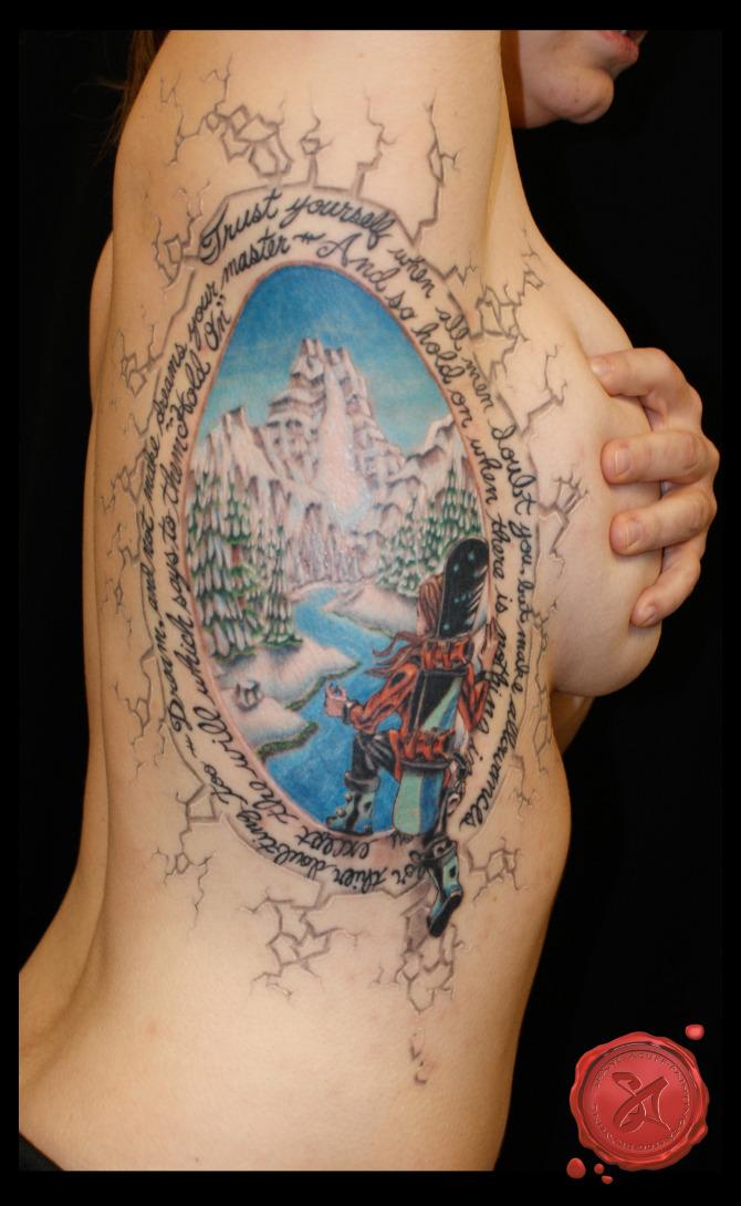 shane acuff snowboard rib cage tattoo