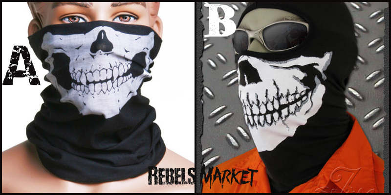 Wicked collection of Skull Masks for wind protection on RM - Great for snowboarding or Bikers