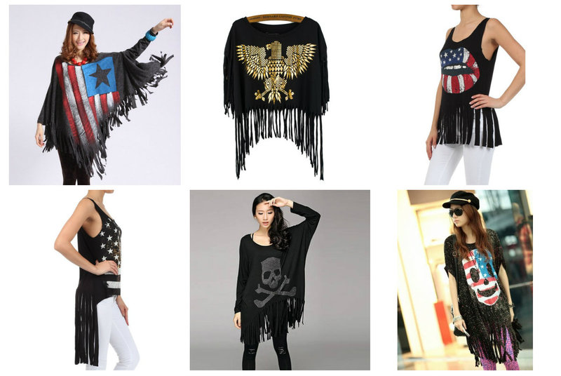 Flags and Skulls on Fringe Tops - From RebelsMarket
