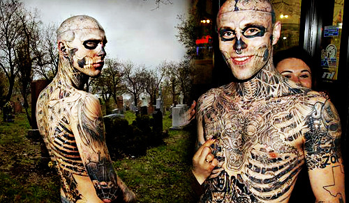 Chest Tattoo by Zombie Boy Rick Genest (aka Ricky the Zombie)