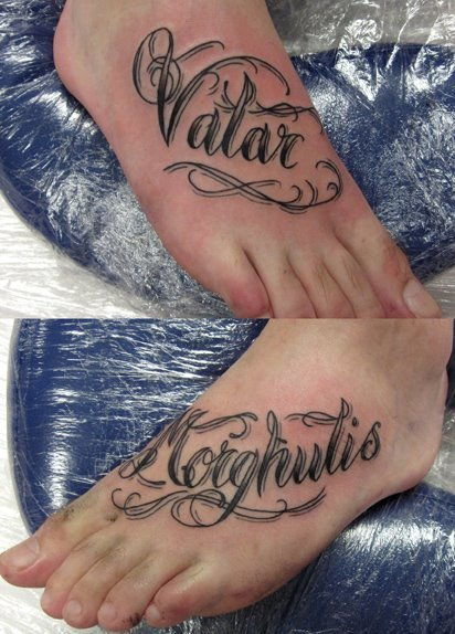 """Valar Morghulis"" foot tattoo"