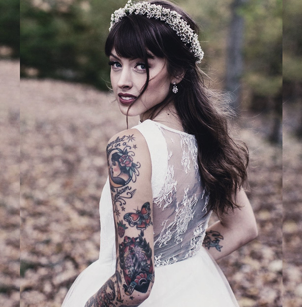 Don't cover your tattoos on your wedding day! Choose a gown that let's your true self shine.