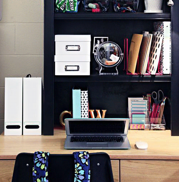 Keep your dorm organized and show your alternative style by choosing unique shelves and containers.