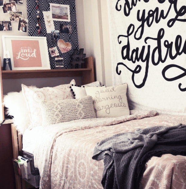 Show your alternative style in a school dorm with easy to apply and remove wall decals.