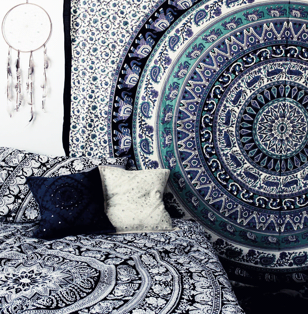 Add alternative style to your dorm space with cool tapestries.