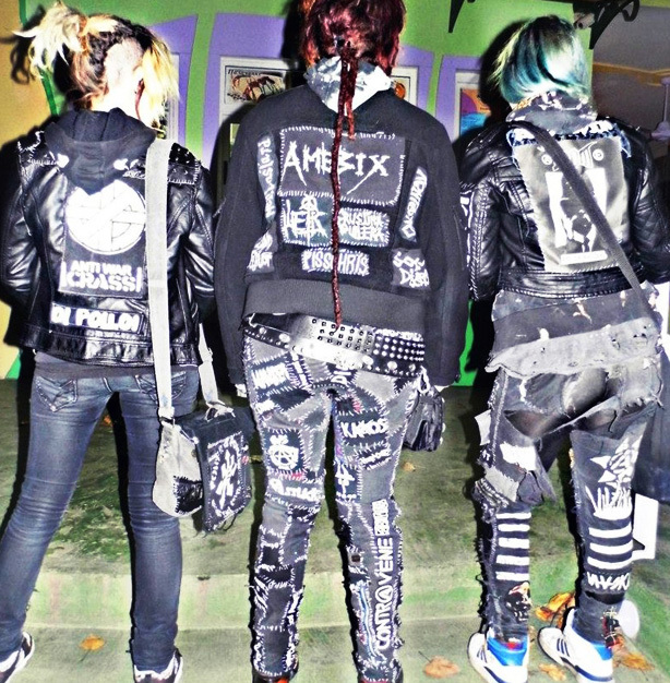 Patches add a one of a kind aspect to crust punk fashion.