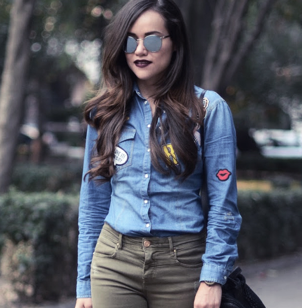 Use patches to keep a denim shirt colorful.