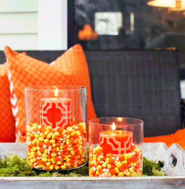 DIY Halloween Decor - Candy Corn Candles