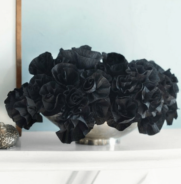 DIY Halloween Decor - Black Paper Flowers