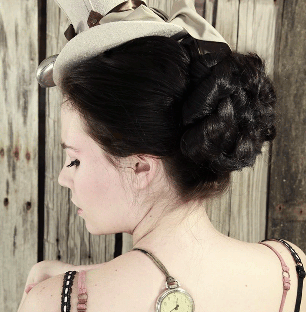 Let your Steampunk style shine with a Victorian hairstyle for work.