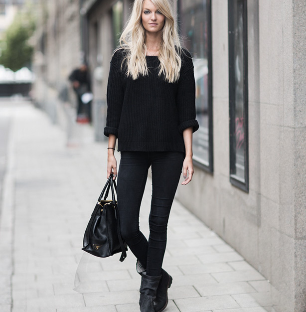 Casual cool style with head to toe black fashion.