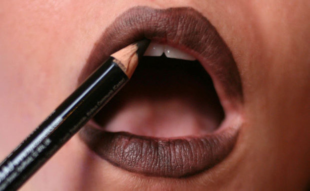 Lip-liner is essential to looking great in black lipstick.