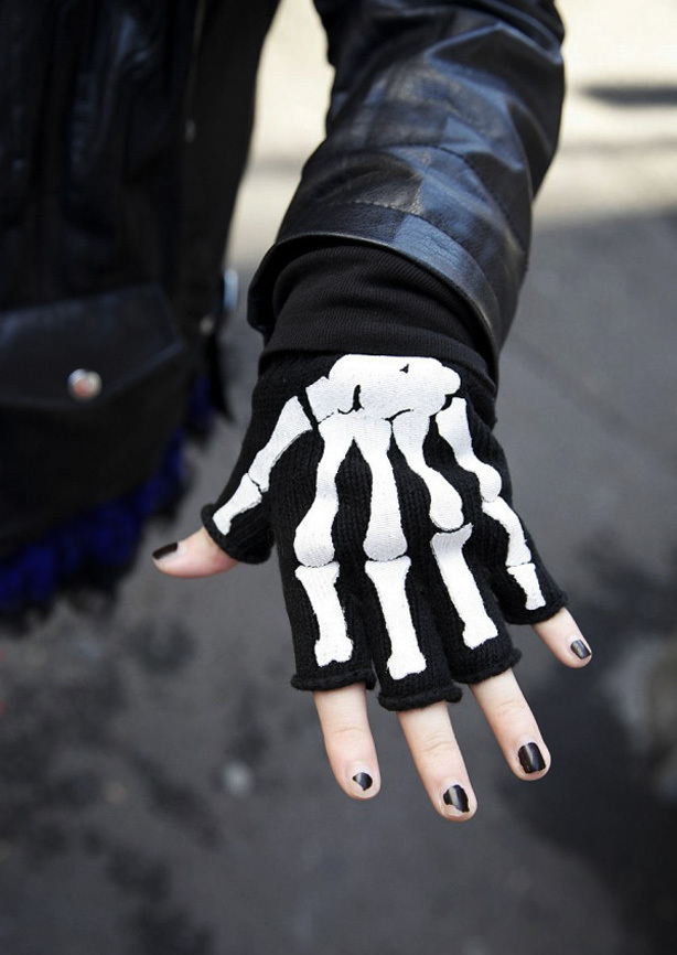A picture of black fingerless gloves with skeleton bone detailing