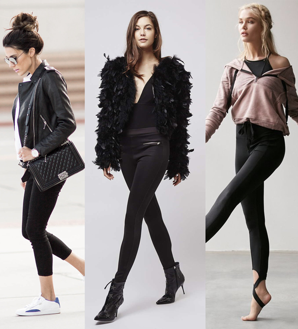 A picture collage of three female models sporting different types of black leggings; black capri leggings, full-length black leggings and stirrup leggings