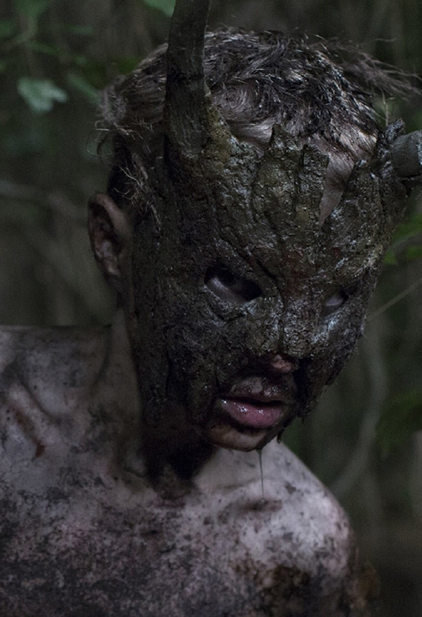 Promotional image for the horror movie Cub, with a boy wearing a pagan mask