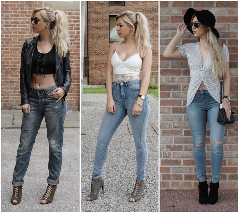 Different jeans rises styles, including low rise, mid rise and high waisted jeans