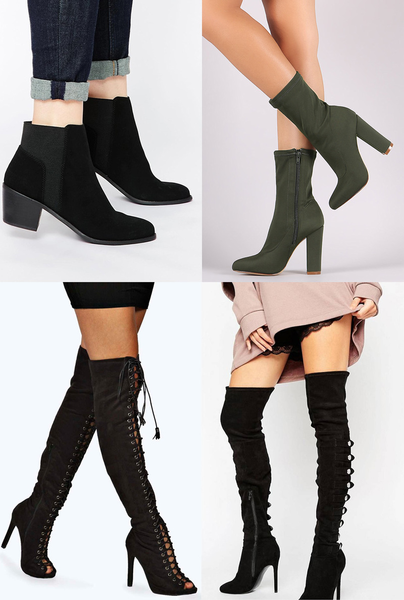 Picture collage of different types of boots for comfort, including ankle boots, knee boots and heels