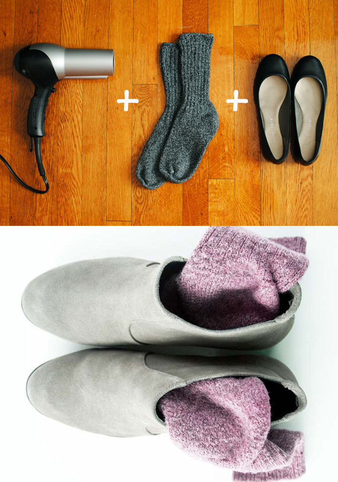 Picture collage showing how to stretch boots with thick socks to make them more comfortable