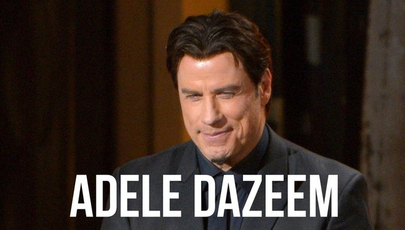 John Travolta meme for the Oscars mispronunciation of the name Adele Dazeem